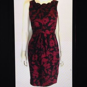 Adrianna Papell Pleated Floral Accent Sheath Dress
